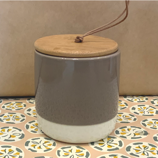 Stoneware jar with lid - grey