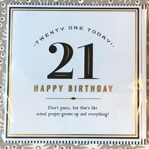 Twenty one today! Proper grown up card