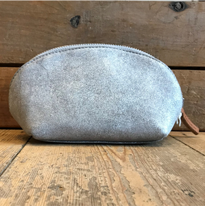 Suede cosmetic purse - metallic silver