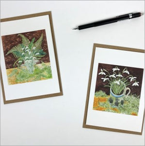 Snowdrops ferns & lichens notecards by Angie Lewin
