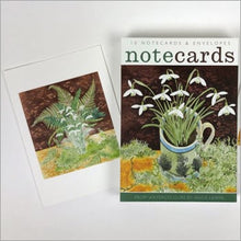 Load image into Gallery viewer, Snowdrops ferns & lichens notecards by Angie Lewin
