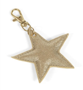 Suede star key ring - metallic gold