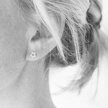 Load image into Gallery viewer, Silver open star stud earrings