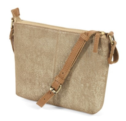 Suede cross-body bag – metallic gold