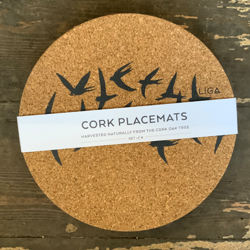 In a pretty grey swallow design, delicate and beautiful for any table.  Cork is sustainable, renewable and recyclable - practical too, water impermeable and easily wipe clean and insulating.