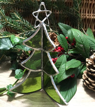 Load image into Gallery viewer, Handmade glass - free standing Xmas tree