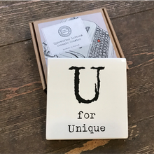 Load image into Gallery viewer, Alphabet ceramic coaster