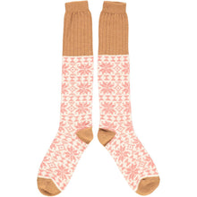 Load image into Gallery viewer, Lambswool knee socks - fair isle - blush/copper