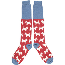 Load image into Gallery viewer, Lambswool knee socks - Scottie dog - red