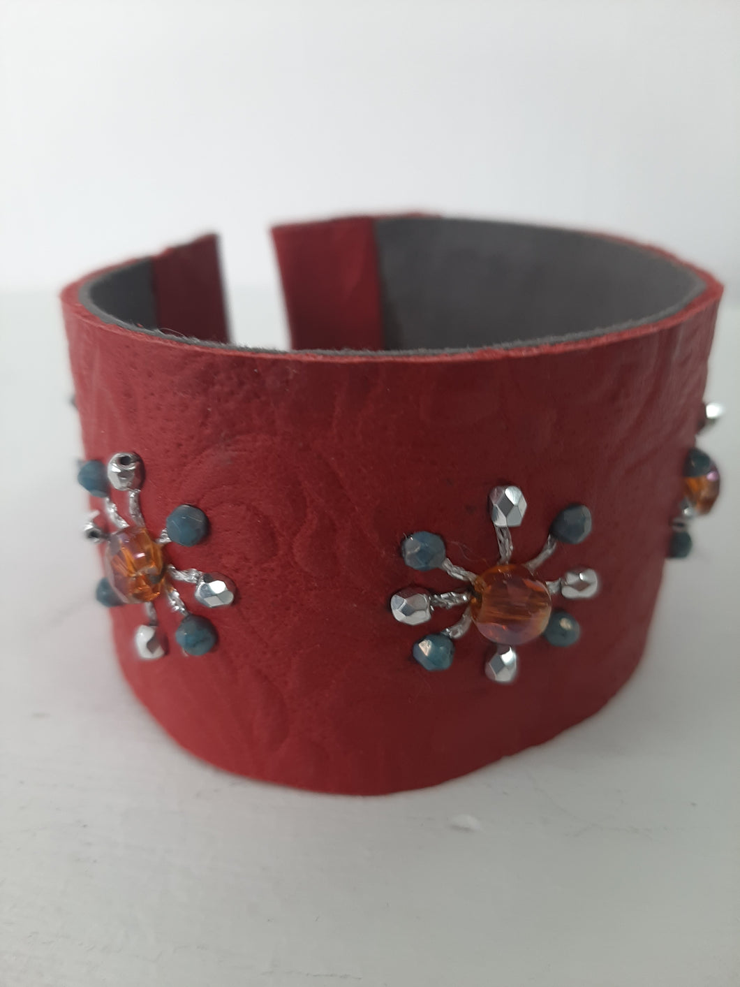 Leather Beaded Cuff