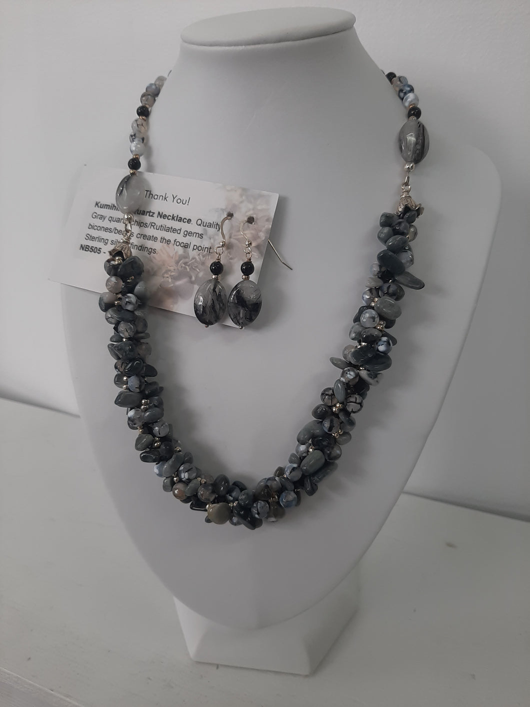Quartz necklace and Earrings Set