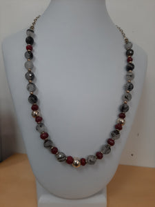 Black Tourmaline Quartz Red Sapphire Necklace