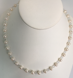 Pearl and Swarovski Necklace Single Strand