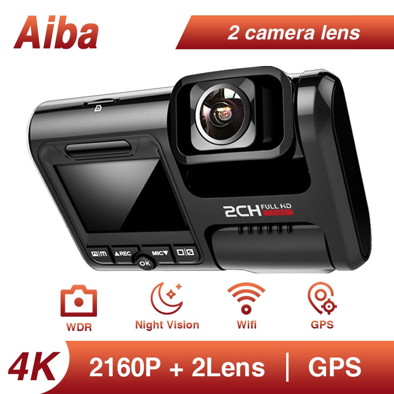 Aiba J07 WIFI Sony IMX323 Sensor Night Vision Camera Car Dvr Dual Lens Dash Cam Novatek 96663 Chip 24H Parking Dashcam