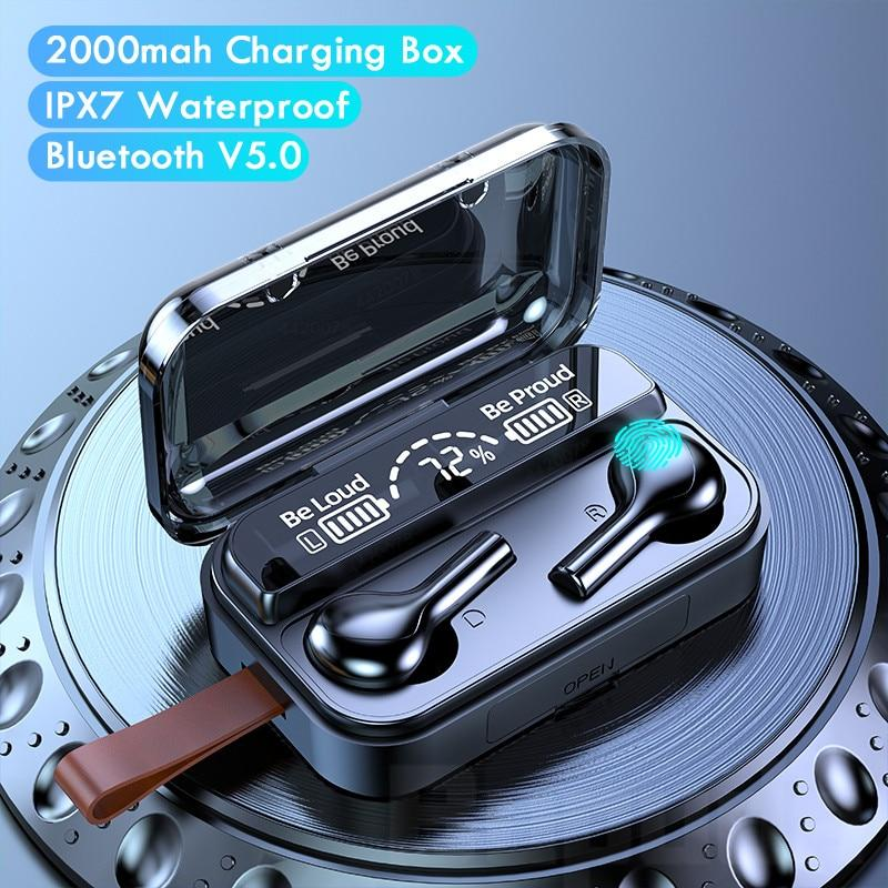 5.0 Bluetooth Earphones Wireless Headphones 9D Hifi Bluetooth Earphones Waterproof Headset Earbuds With 2000mAh Charging Box