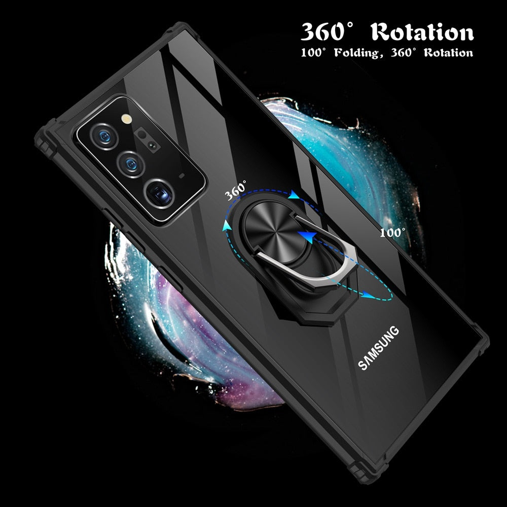 KEYSION Shockproof Case For Samsung Note 20 Ultra 10 Lite Transparent Ring Phone Cover for Galaxy S20 Ultra S10+ A51 A71 A50 A70