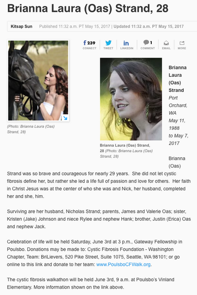 Brianna Strand: Celebration of Life Program