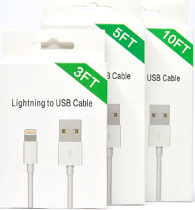 Lightning Cable - 3ft/ 5ft/ 10ft (White Package w/ Blue Corner)
