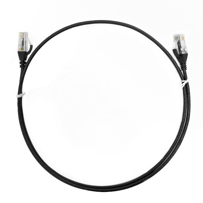 0.25m Cat 6 Ultra Thin LSZH Ethernet Network Cables: Black