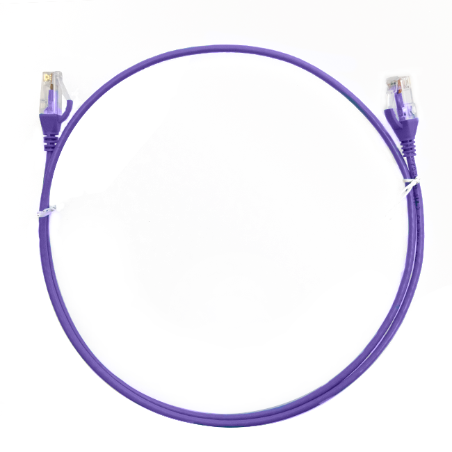 0.25m Cat 6 Ultra Thin LSZH Ethernet Network Cables: Purple