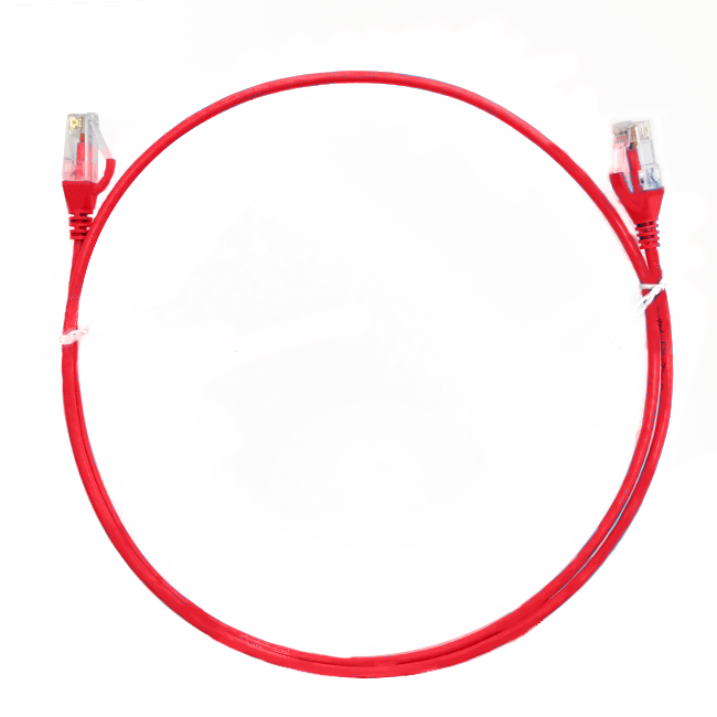 0.25m Cat 6 Ultra Thin LSZH Ethernet Network Cables: Red