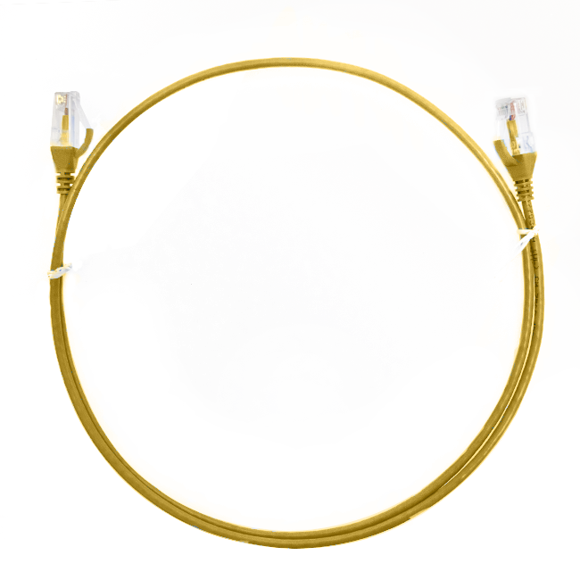 1m Cat 6 Ultra Thin LSZH Ethernet Network Cables: Yellow