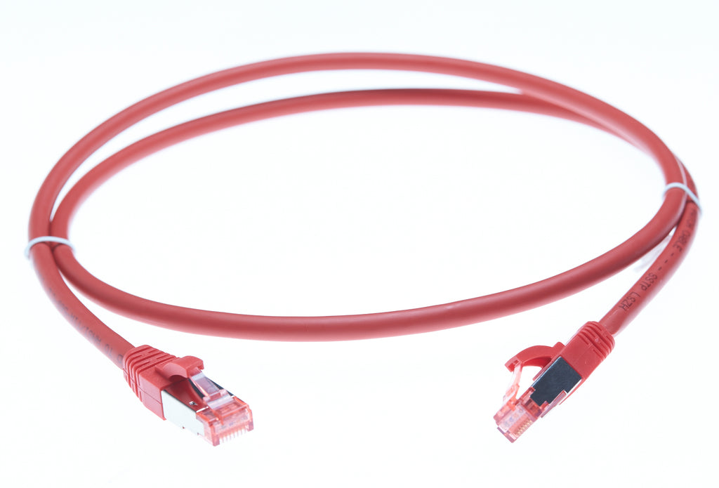 1m Cat 6A S/FTP LSZH Ethernet Network Cable. Red