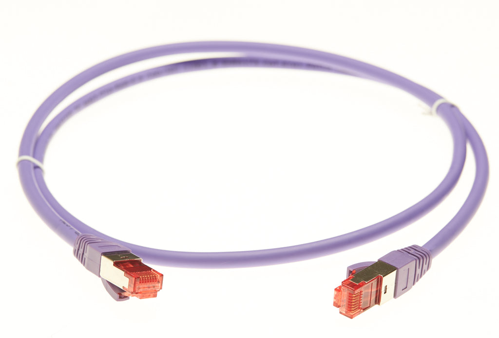 0.5m Cat 6A S/FTP LSZH Ethernet Network Cable. Purple