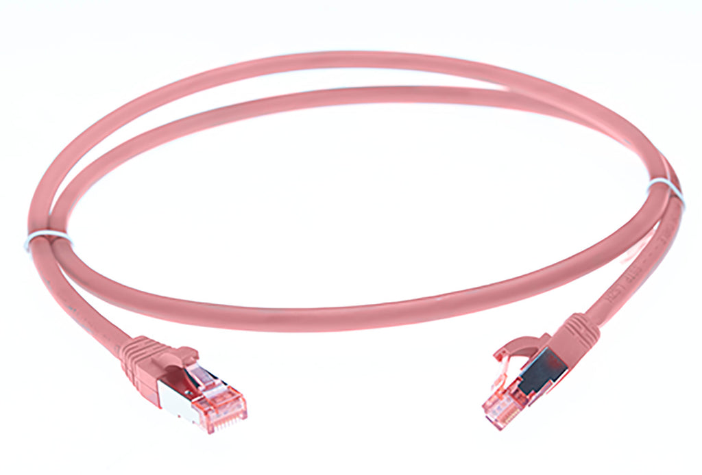0.5m Cat 6A S/FTP LSZH Ethernet Network Cable. Pink