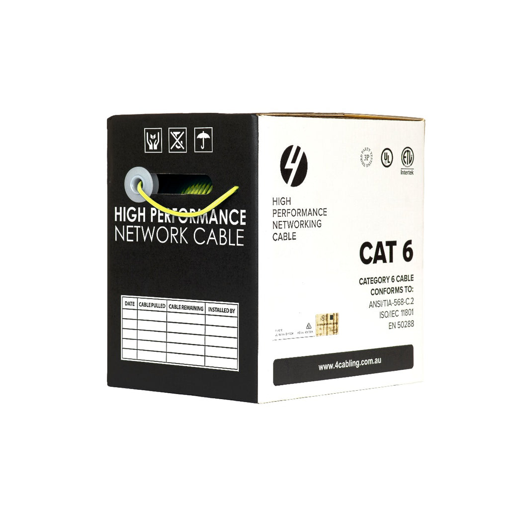 CAT6 Ethernet 305m Cable Reel Box. UTP LAN Cable with Solid Conductor. Yellow