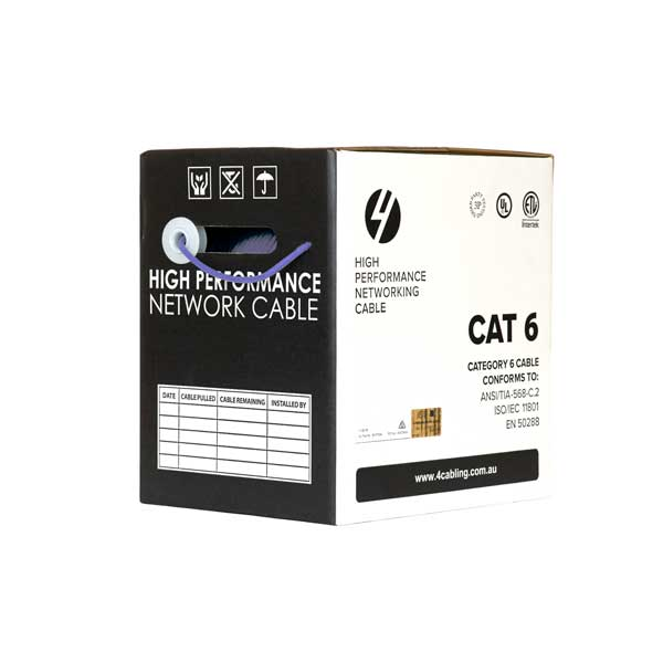 CAT6 Ethernet 305m Cable Reel Box. UTP LAN Cable with Solid Conductor. Purple