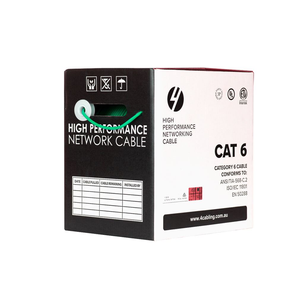 CAT6 Ethernet 305m Cable Reel Box. UTP LAN Cable with Solid Conductor. Green