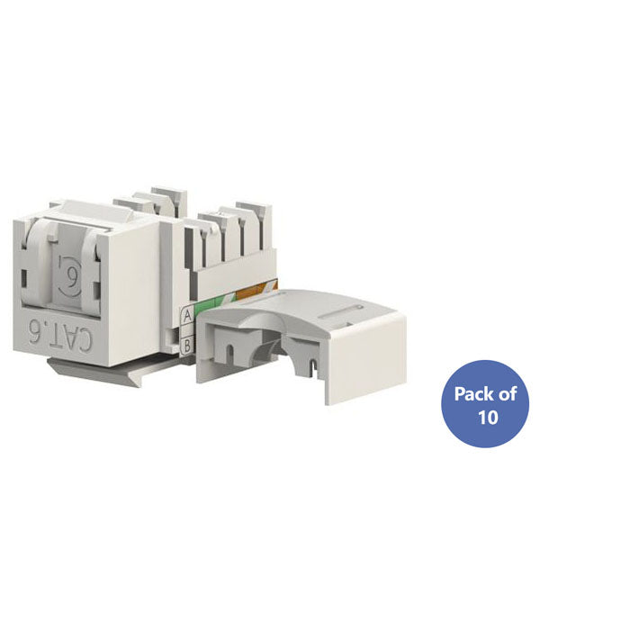 Cat 6 RJ45 Keystone Jack with Shutter 90 Degree | Pack of 10