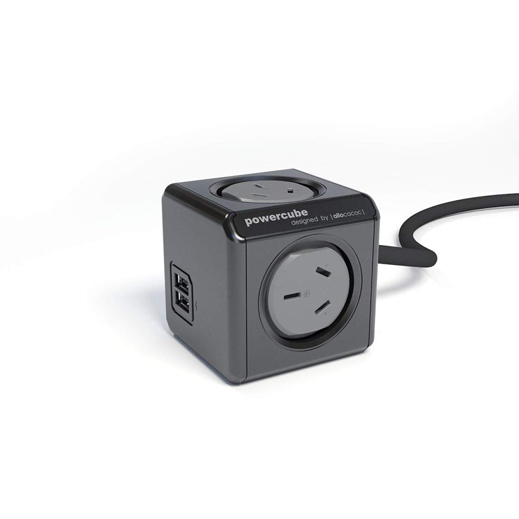 PowerCube 4 Power Outlet and 2 USB Ports 1.5m. Black
