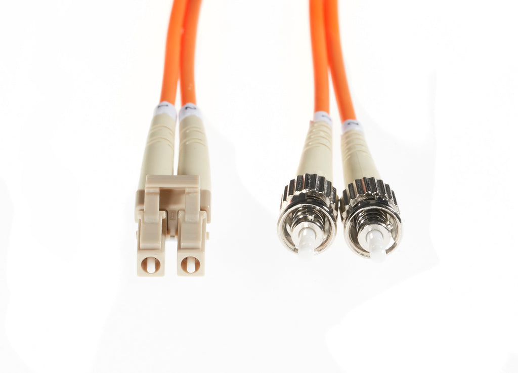 5m LC-ST OM1 Multimode Fibre Optic Cable: Orange