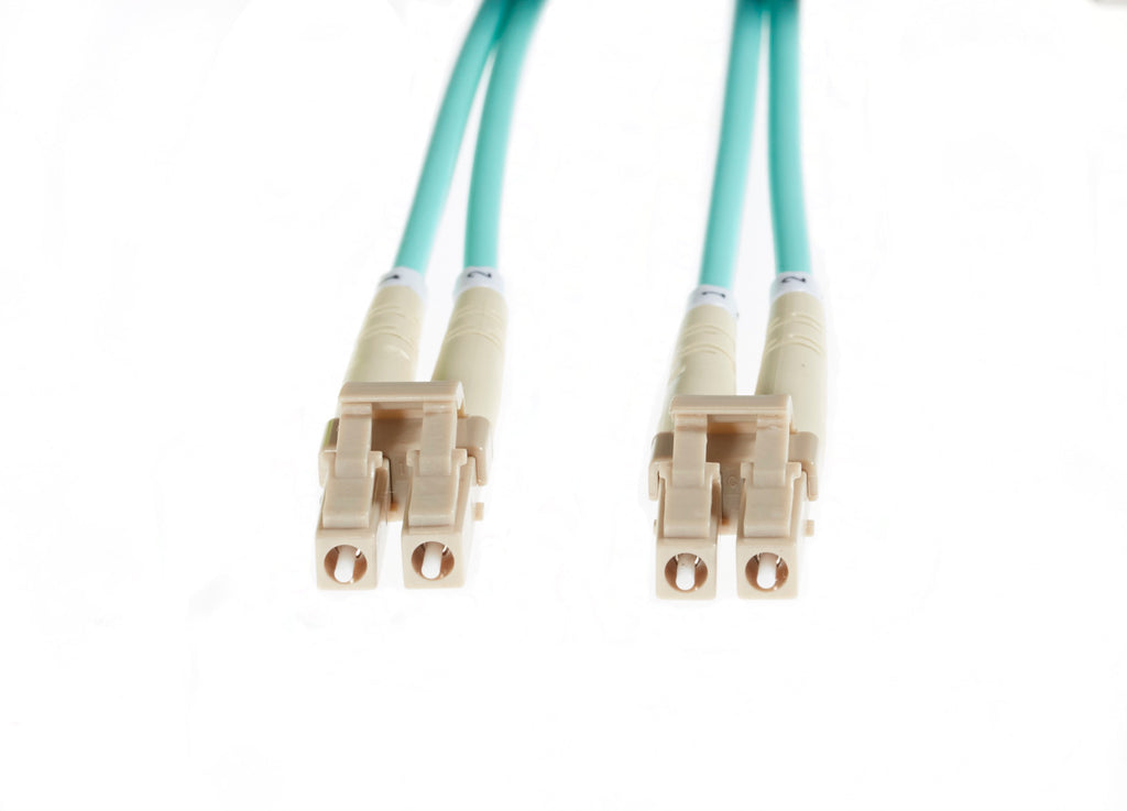 20m LC-LC OM3 Multimode Fibre Optic Cable: Aqua