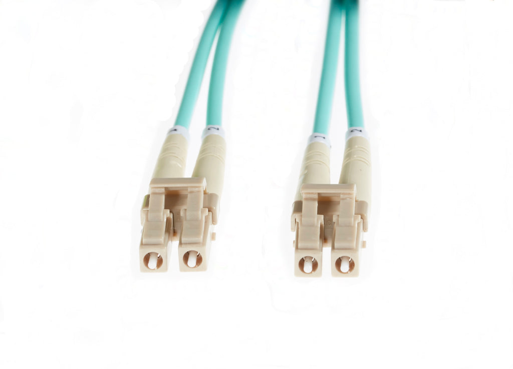 15m LC-LC OM4 Multimode Fibre Optic Patch Cable: Aqua