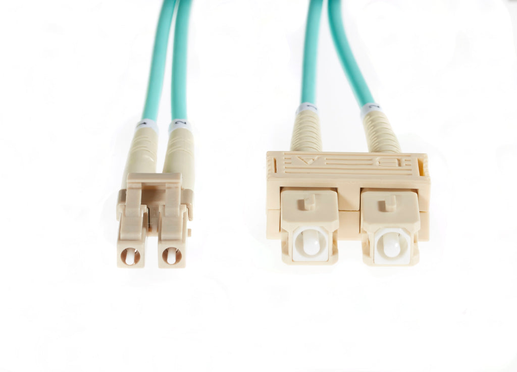 5m LC-SC OM4 Multimode Fibre Optic Cable: Aqua