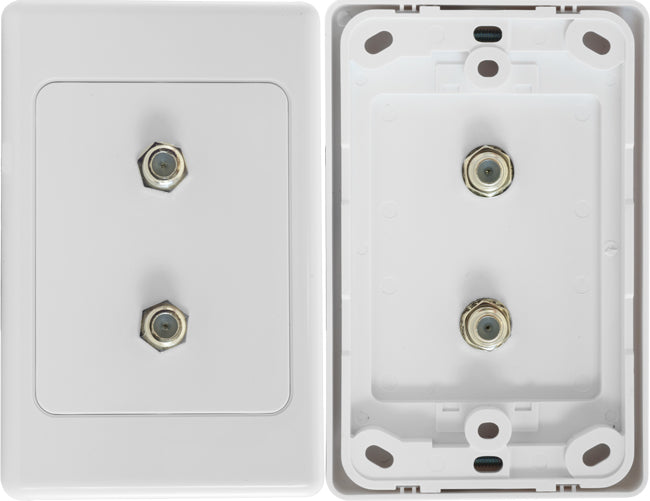 Double F-Type Coaxial Wall Plate