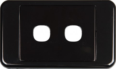 2 Way Australian Style Wall Plate Black