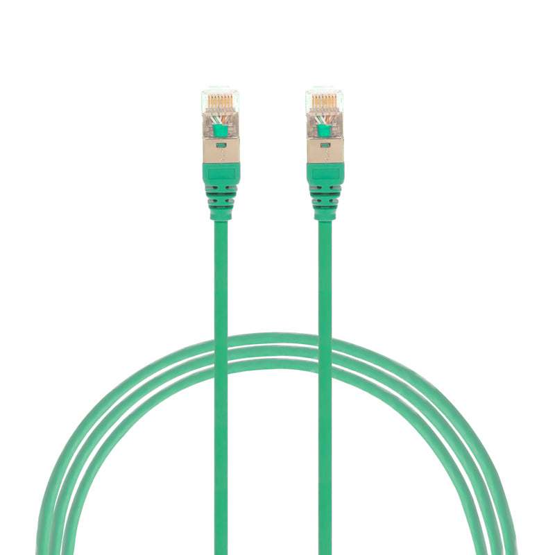0.5m Cat 6A RJ45 S/FTP THIN LSZH 30 AWG Network Cable. Green