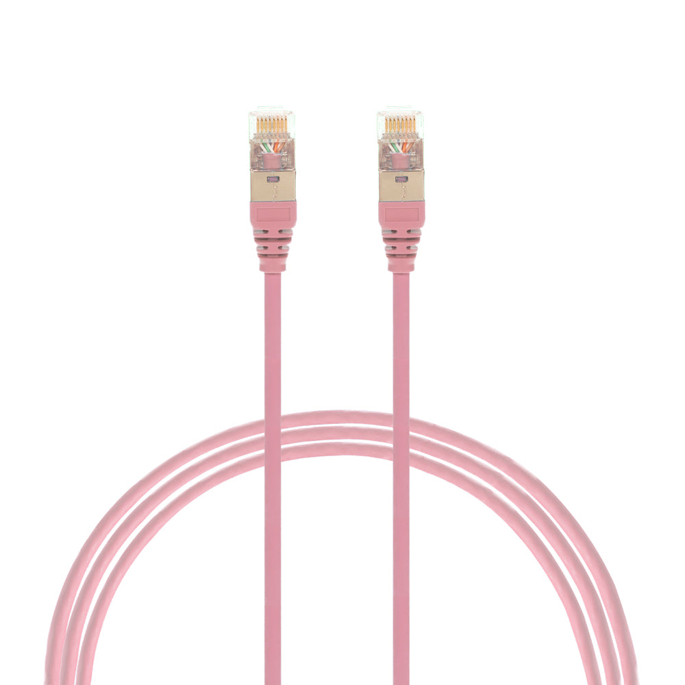 5m Cat 6A RJ45 S/FTP THIN LSZH 30 AWG Network Cable. Pink