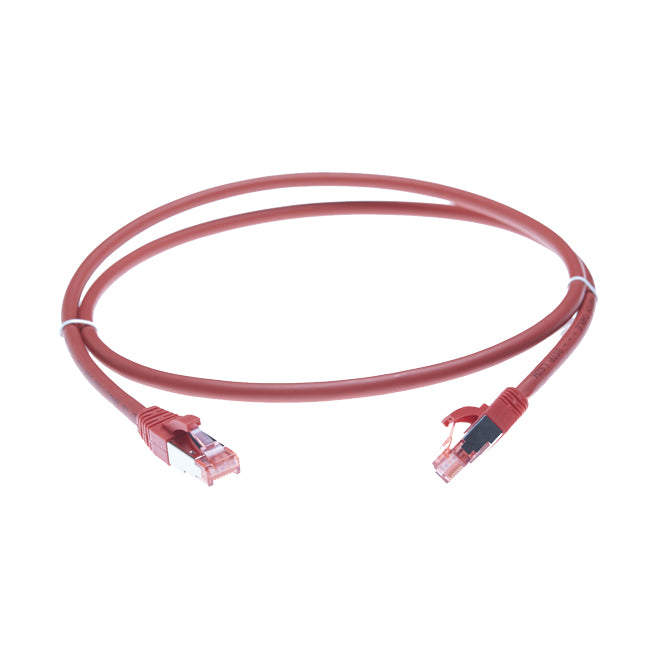 0.75m Cat 6A S/FTP LSZH Ethernet Network Cable. Red