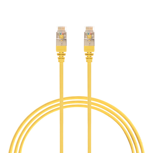 0.5m Cat 6A RJ45 S/FTP THIN LSZH 30 AWG Network Cable. Yellow
