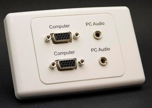 Dual SVGA Wall Plate with 3.5mm Audio Outlet