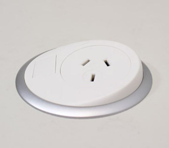 OE Elsafe: Pixel 1 x GPO with 2000mm Lead and 10A Three Pin Plug - White/Silver