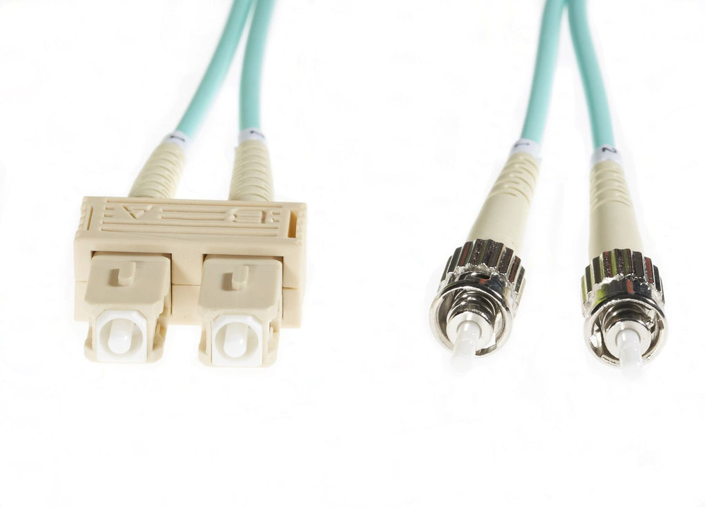 10m SC-ST OM3 Multimode Fibre Optic Cable: Aqua