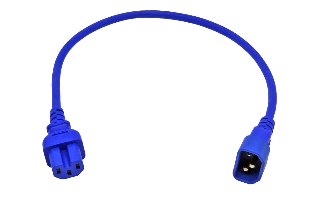IEC C14 to C15 High Temperature Power Cable Blue 1M