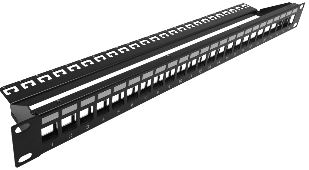 1RU 24 Port Shielded Patch Panel - Unloaded