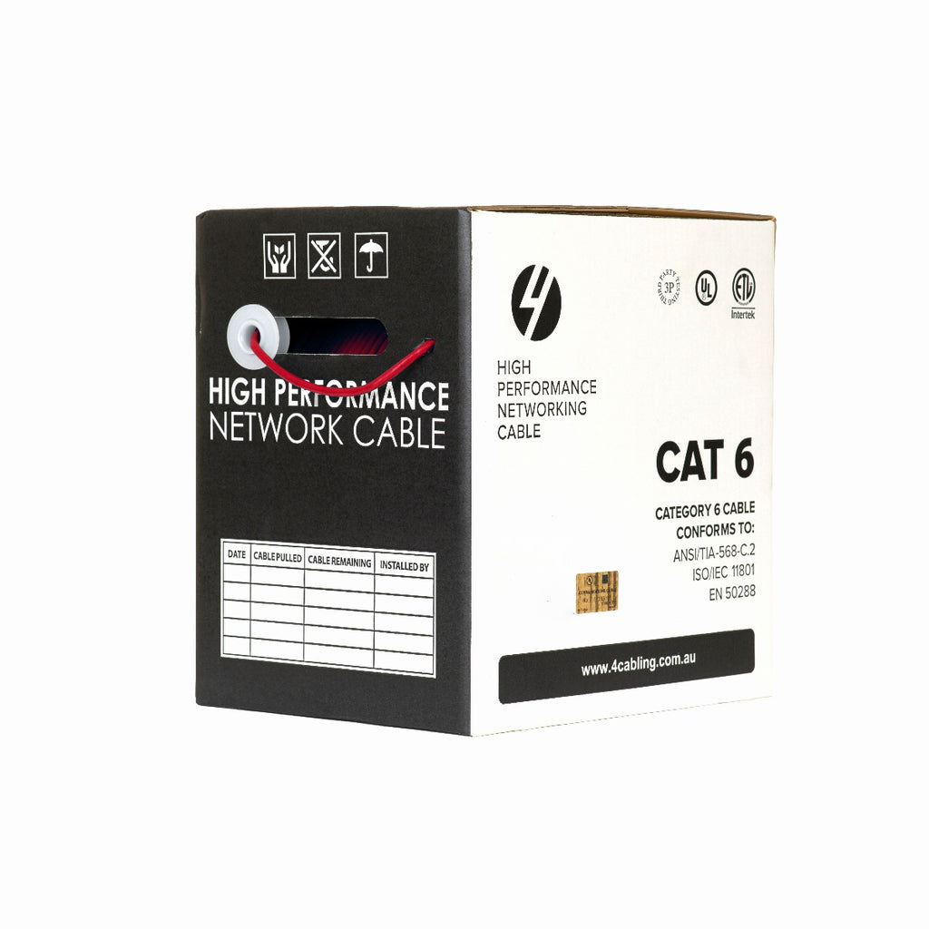CAT6 Ethernet 305m Cable Reel Box. UTP LAN Cable with Solid Conductor. Red